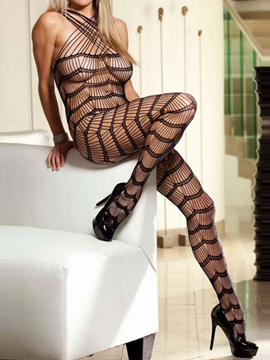 Beautiful See-through Striped Body Stocking