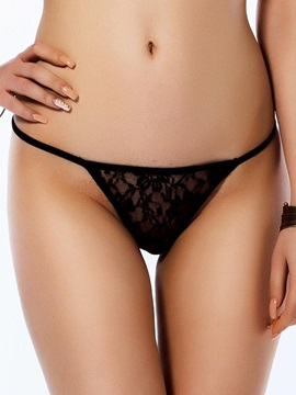 See-through Floral Black Solid Women Thong