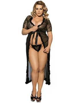 Exquisite Mesh and Lace Marabou Robe
