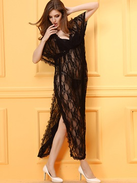 Elegant Black Lace Floral Long Dress Sexy Intimates