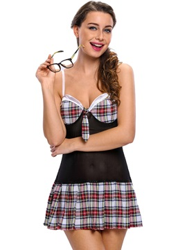 Sexy Color Block Plaid Student Cosplay Costume