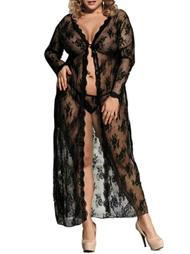 Long Sleeve Cardigan Lace Plus Size Babydoll