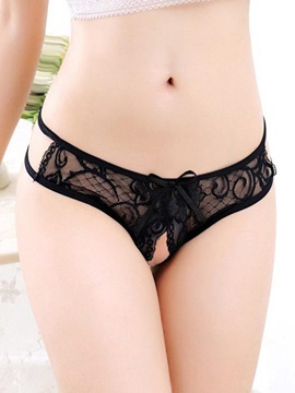 Open Crotch Bowknot See-Through Panty