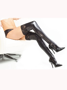 Sexy Black PU Thigh High Stocking