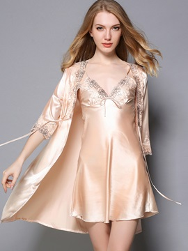 Pajama Tight Wrap Embroidery Nightgown and Robe