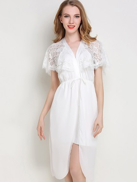 Nightgown Slit Up Sexy Batwing Sleeve Lace Women's Night Dress