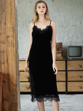 Women's Gold Velvet Mid-Calf Lace Nightgown