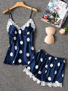 Polka Dots Lace Women's Short Sleepwear 2 Pieces