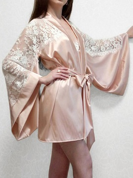 Lace-Up Color Block Lace Sexy Robe