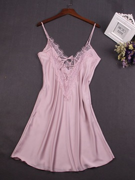 Plain Lace V-Neck Sleeveless Women's Nightgown