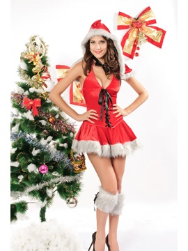 Sexy Red & White Christmas Dress Costume  YM162