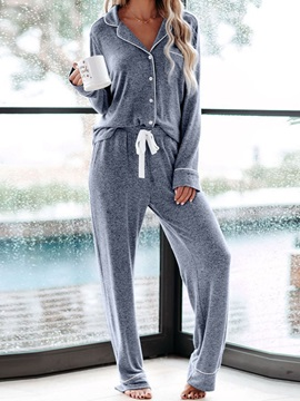 Polyester Button Simple Single-Breasted Long Sleeve Women's Pajama Suit