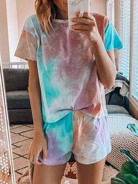 Print Polyester Simple Pullover Round Neck Women's Pajama Suit