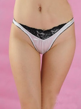Black Lace Patchwork Silk Like Women's Thongs