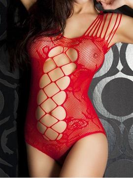Red Strappy Cut-Out Floral Print Mesh Teddy