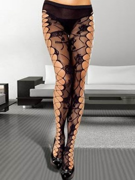 Black Mesh See-throughl Floral Women Stockings