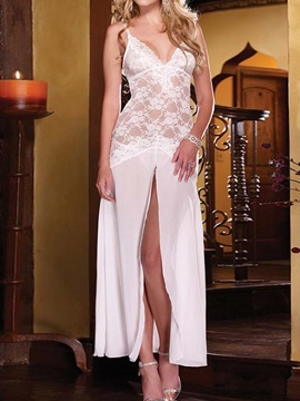 Hot Sexy Floral Lace White Long Dress