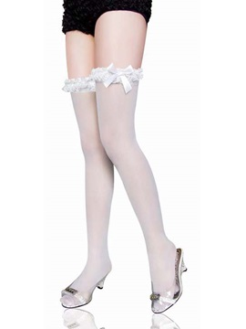 Fashion Women Sexy Trendy White Bowknot Long Stocking