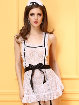 White Lace French Maid Lingerie Costume