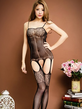 Black Hollow Out Sexy Lingerie Body Stockings