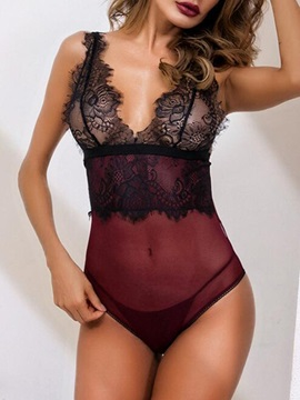 Eyelash Lace Color Block See-Through Tight Wrap Sexy Teddy