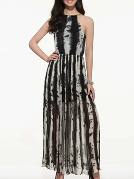 Stripe Hollow Sleeveless Halter Maxi Dress