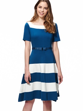 Chic Stripe Contrast Color Short Sleeve Skater Dress