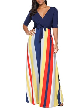 Half Sleeve V-Neck Women's Maxi Dress