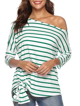 Stripe Inclined Shoulder Mid-Length Women's T-Shirt
