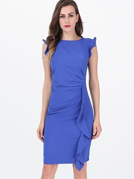 Solid Falbala Sleeveless Bodycon Dress