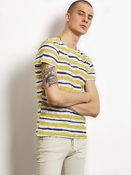 Stripe Color Block Men's Casual T-Shirt