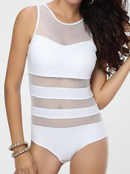Simple Solid Color Hollow Designed One-Piece Swimsuit