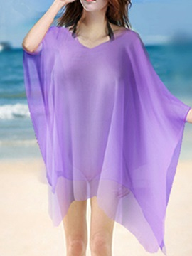 Solid Color V-Neck Chiffon Beach Dress