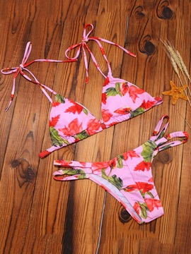 Cute Spaghetti Strap Flower Bikini Set