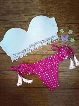 Lovely Polka Dots Pleated Bikini Set