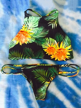 Flower Leaf Print Lace-Up Bikini Set