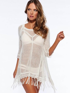 Plain Hollow Knitting Cover-Up