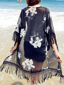 Delicate Flower Print Half Sleeve Cover-Up