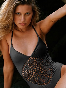 Solid Color Hollow Backless Monokini