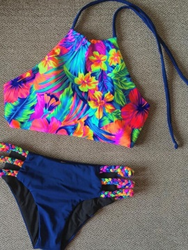 Floral Hollow Lace-Up Bowknot Tankini Set