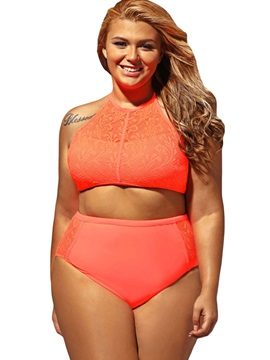 Mesh Patchwork Hollow Lace Plus Size Swimwear
