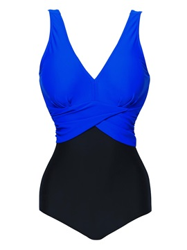 V-Neck Color Block Pleated Monokini