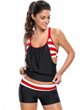 Plain Stripe Pleated Tankini Set Swimwear