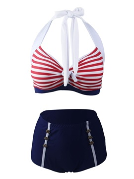 Stripe Lace-Up Bikini Top & Button Bikini Short Tankini Set