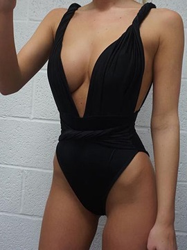 Plain Deep V-Neck Pleated Monokini