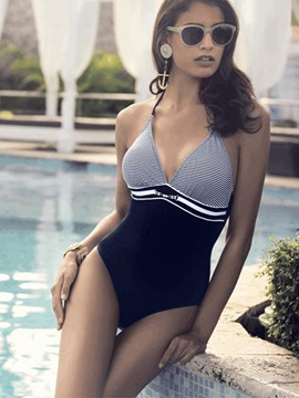V-Neck Pinstripe Lace-Up Monokini