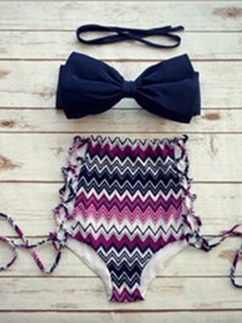Bowknot Shape Pleated Stripe Plain Hollow Highwaist Bikini Swimsuits