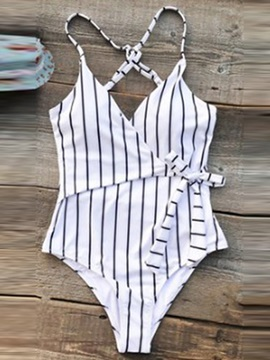 Stripe High Leg One Piece Swimwear