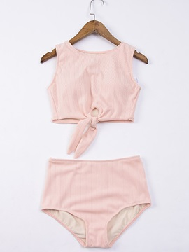Bowknot Front Cute Plain Tankini Set