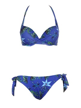 Plant Print Blue Lace-Up Bikini Set